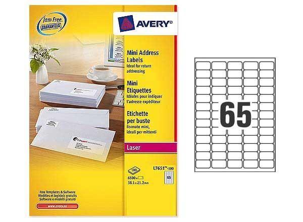 PLANCHES DE MINI, ÉTIQUETTE AVERY 38,1X21,2 MM SOIT 6500 ÉTIQ/BOÎTE - NEUF - AVERY - L7651