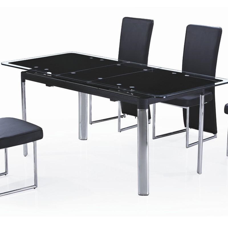 Table en verre noir avec rallonge extensible carbon for Table en verre a rallonge