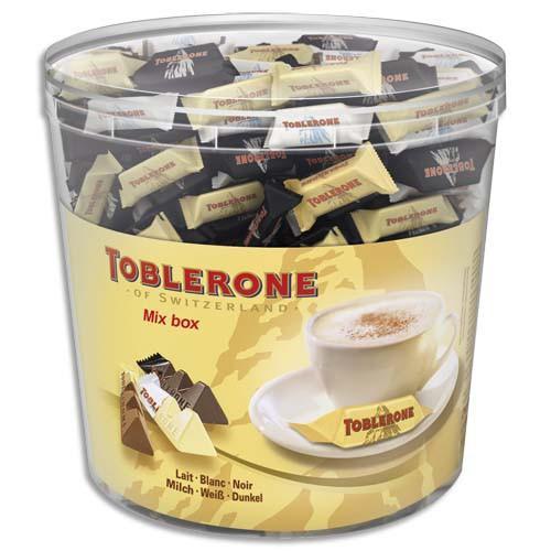 TOBLERONE BOÎTE DE 904G MINIS TOBLERONE 3 VARIÉTÉS DE CHOCOLAT : AU LAIT, NOIR ET BLANC EN SACHET