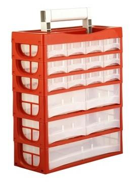 Mallette 17 tiroirs avec poignée de transport