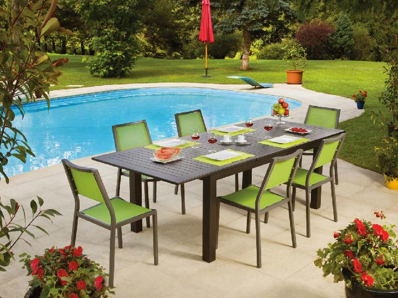 Table de jardin extensible aluminium valdiz for Table extensible jardin
