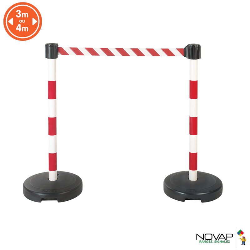Kit 2 poteaux PVC à sangle Rouge/Blanche sur socle 9kg à lester - Novap