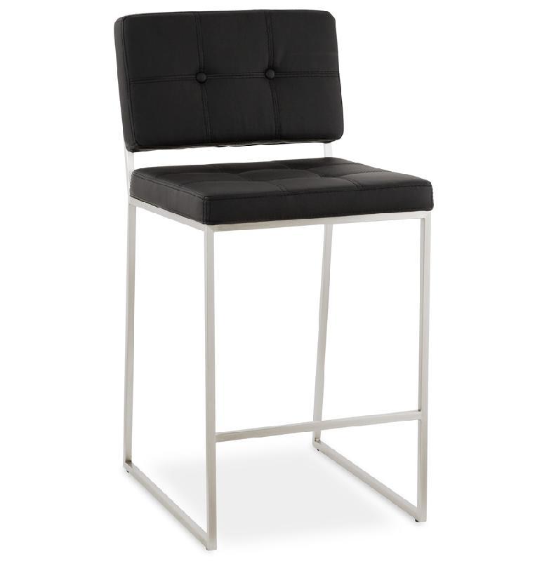 tabouret snack mi hauteur 39 gaston 39 noir capitonn comparer. Black Bedroom Furniture Sets. Home Design Ideas