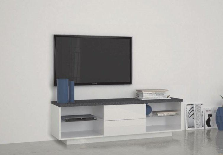 Meuble tv3 design treviso 2 tiroirs laqu blanc comparer for Meuble tiroir laque blanc