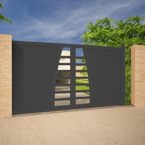 portail alu coulissant droit ouverture gauche gris 3x1 60m emalu hibiki comparer les prix de. Black Bedroom Furniture Sets. Home Design Ideas