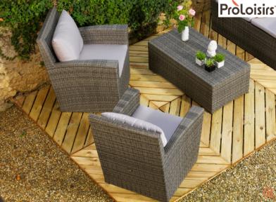 Salon de jardin lot de 2 fauteuils détente hawaï (1 fauteuil acheté, le 2e  offert)