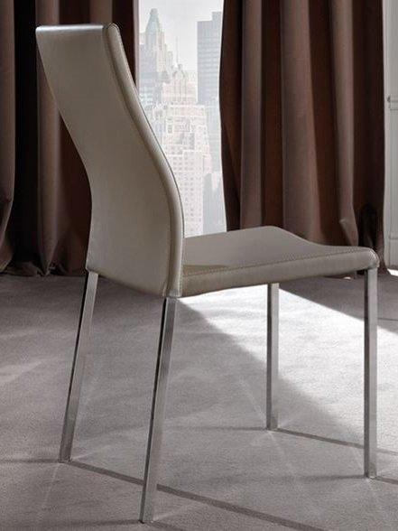 lot de 2 chaises design hellen en tissu enduit polyurethane simili facon cuir taupe et acier chrome. Black Bedroom Furniture Sets. Home Design Ideas