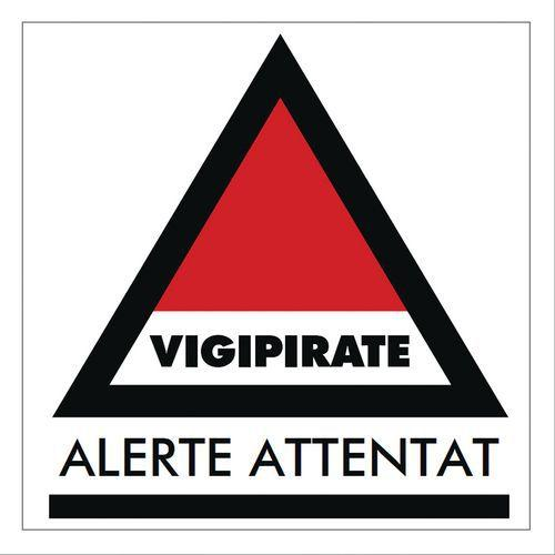 PANNEAU VIGIPIRATE ALERTE ATTENTAT RIGIDE 30*30CM