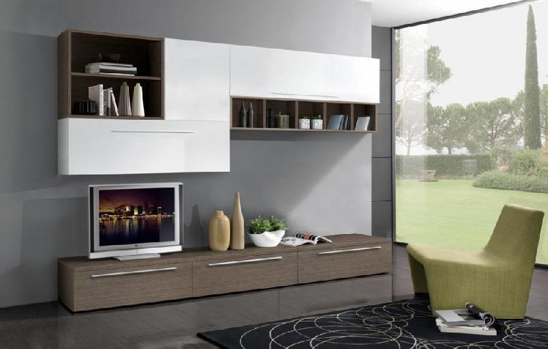 composition murale tv design twist noyer et blanche comparer les prix de composition murale tv. Black Bedroom Furniture Sets. Home Design Ideas