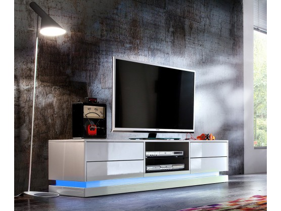 Meuble tv design laque blanc a led 4 tiroirs brandy for Meuble tele design laque blanc