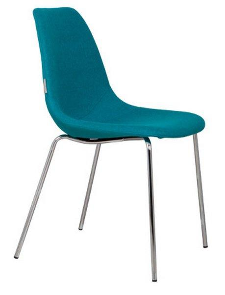 Chaise zuiver fifteen bleue avec pieds chrome for Chaise zuiver