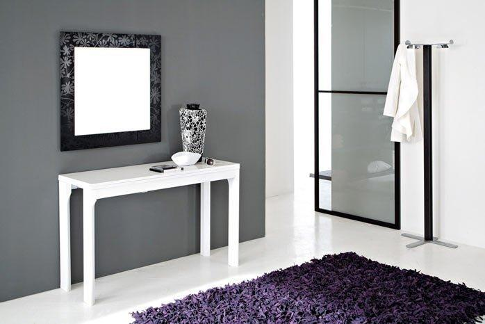 console extensible integrale 8 blanc brillant rallonges integrees. Black Bedroom Furniture Sets. Home Design Ideas