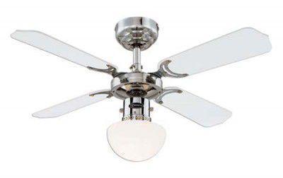 Ventilateur de plafond portland 90cm chrome blanc noir
