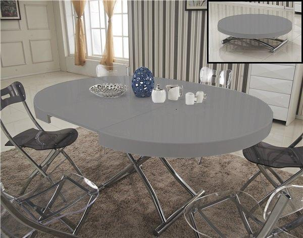 Table basse ronde relevable et extensible saturna xl grise - Table ronde grise ...