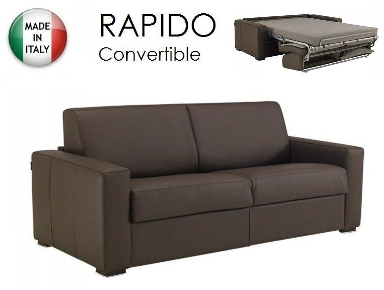 canape convertible rapido 140cm dreamer cuir eco marron couchage quotidien. Black Bedroom Furniture Sets. Home Design Ideas