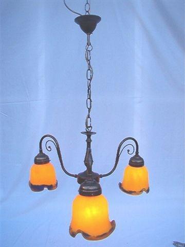 lustre bk 3 tulipes ocre bleu. Black Bedroom Furniture Sets. Home Design Ideas