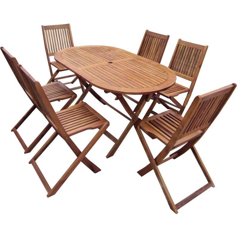 ENSEMBLE TABLE OVALE + 6 CHAISES EN BOIS - JARDIN/PATIO - CHARLES BENTLEY