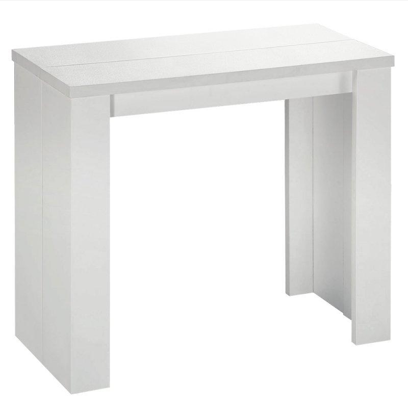 Console extensible en table repas elasto chene blanc for Table console extensible chene