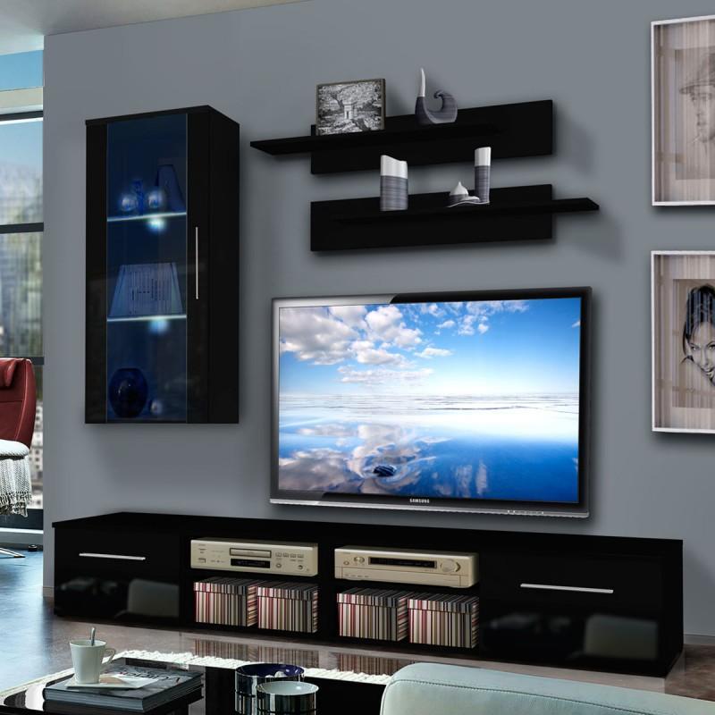 Meuble tv mural invento vii 240cm noir - paris prix