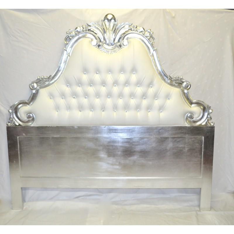 tete de lit baroque 180 cm en bois sculpte argente et aspect cuir blanc. Black Bedroom Furniture Sets. Home Design Ideas