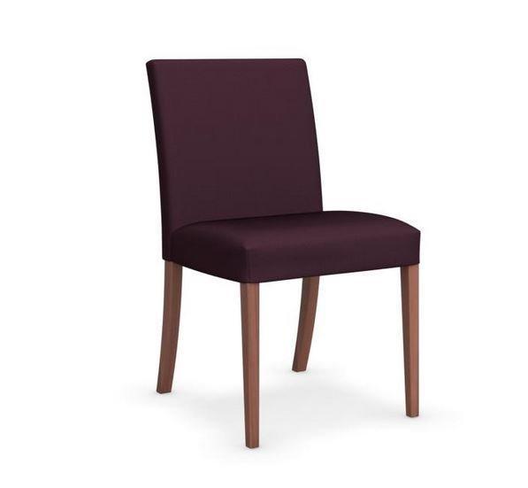 Calligaris chaise latina low  piétement hêtre assise tissu aubergine