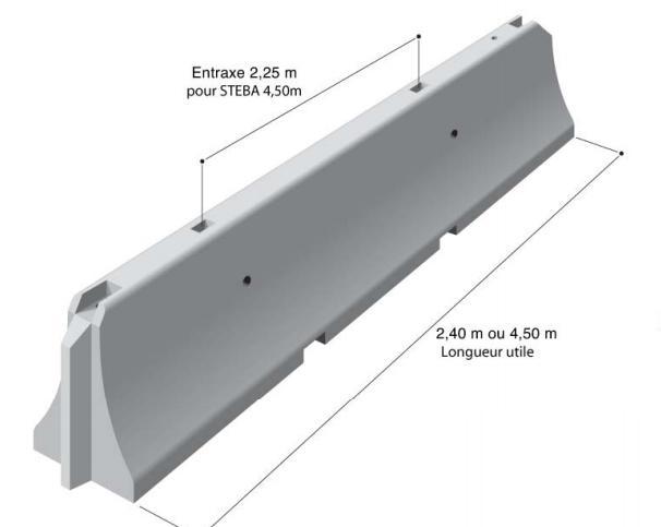 Glissiere et separateur de voie en beton