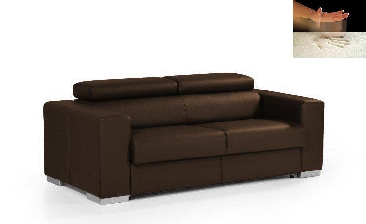 canape rapido sidney memory matelas a memoire de forme cuir vachette marron couchage quotidien. Black Bedroom Furniture Sets. Home Design Ideas