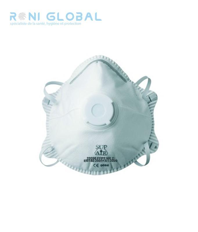 Demi-masque filtrant blanc à coque avec valve ffp2 (20 pièces)