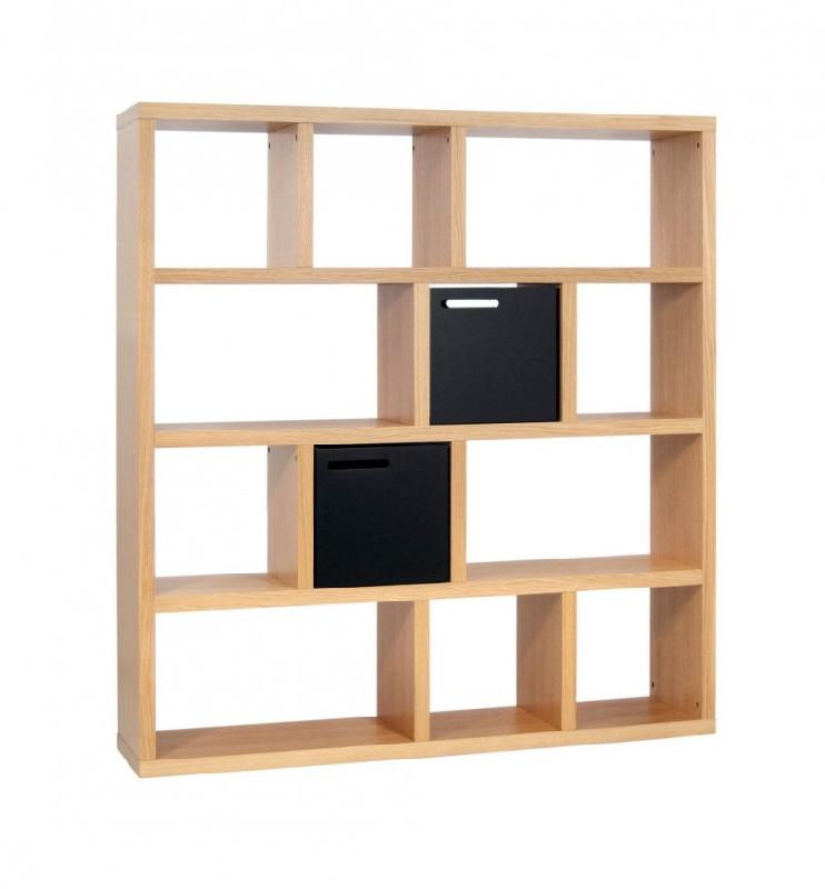 temahome berlin bibliotheque etagere chene avec 2 boites de rangements. Black Bedroom Furniture Sets. Home Design Ideas