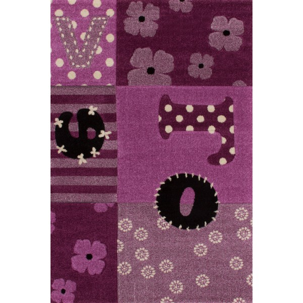 Tapis moderne violet \'mode\' pour enfant (100cmx150cm)
