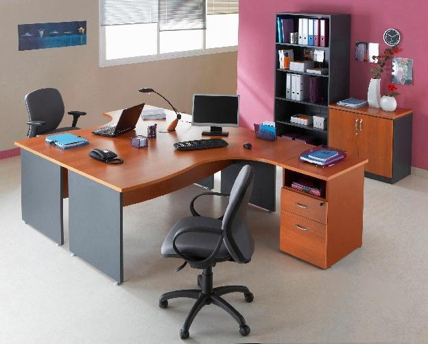 Bureau asymetrique mercure pieds panneaux retour a droite for Bureau 180 cm