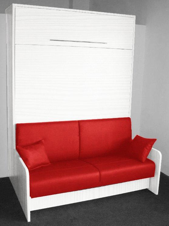 armoire lit escamotable space sofa chene blanc canape integre rouge couchage 160 20 200 cm. Black Bedroom Furniture Sets. Home Design Ideas