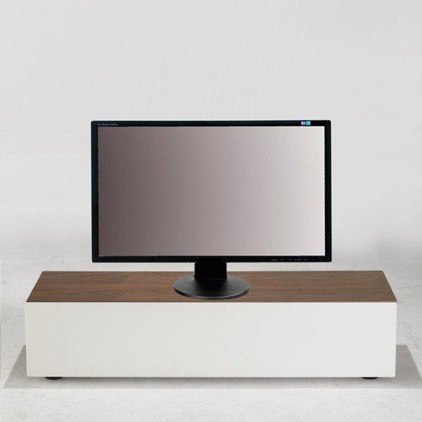 quadran meuble tv design blanc avec plateau bois et coffre de rangements. Black Bedroom Furniture Sets. Home Design Ideas