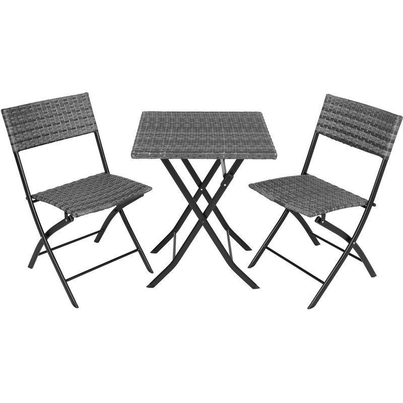SALON DE JARDIN TREVI RÉSINE TRESSÉE 2 PERSONNES, 2 CHAISES ET 1 TABLE  PLIANTES GRIS - TECTAKE