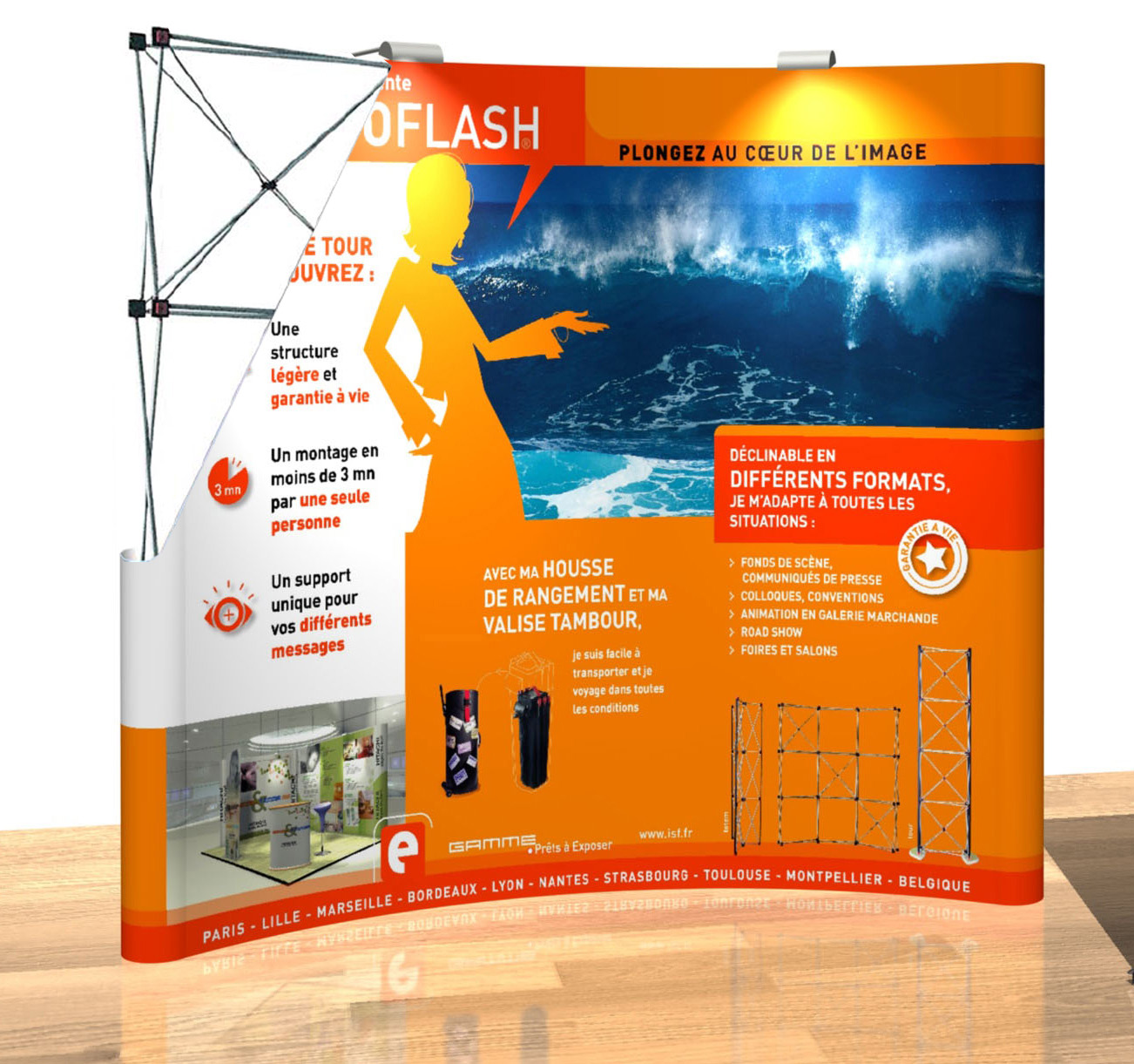 Stand pliable expoflash parabolique 3x3 ht 2 25m for Stand pliable