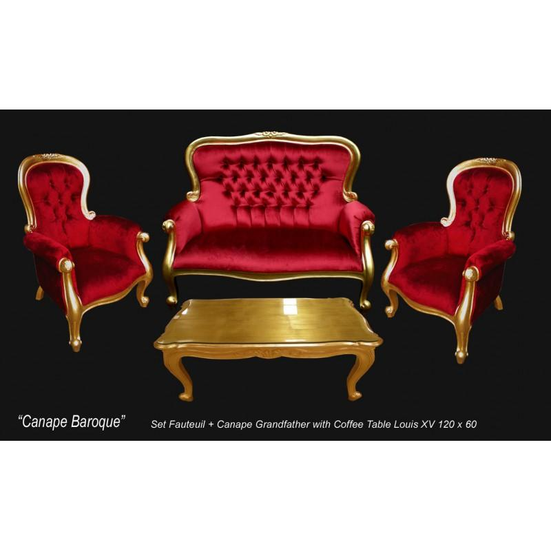 salon baroque dore et velours rouge grandfather. Black Bedroom Furniture Sets. Home Design Ideas