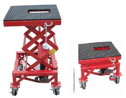 pont elevateur manuel hydraulique sur roulettes pour motos 135 kg plateforme 410 x 350 mm. Black Bedroom Furniture Sets. Home Design Ideas