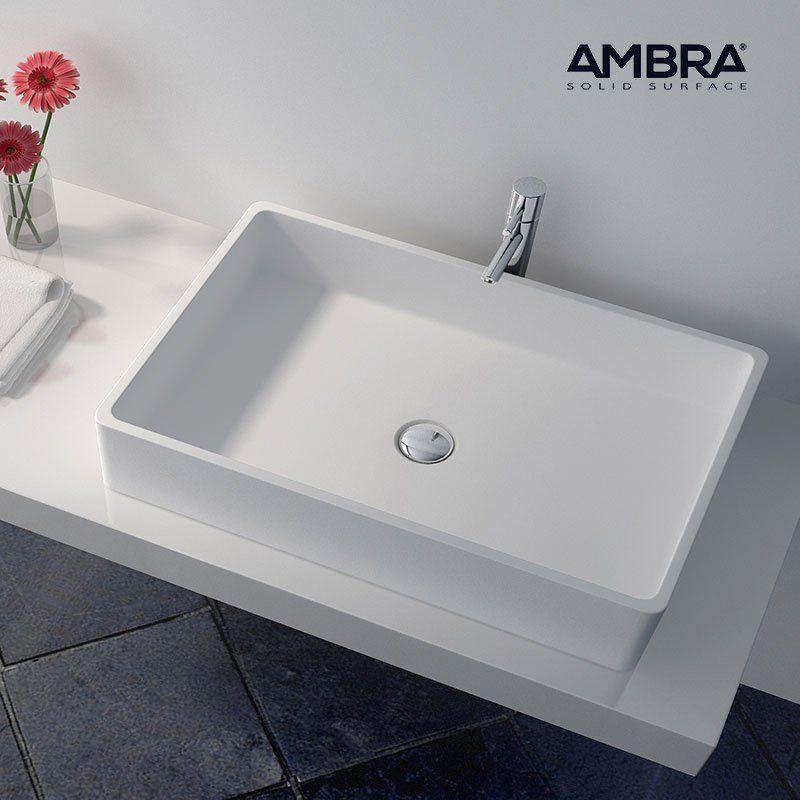 vasque double rectangulaire 80 cm en solid surface malo ambra comparer les prix de vasque. Black Bedroom Furniture Sets. Home Design Ideas