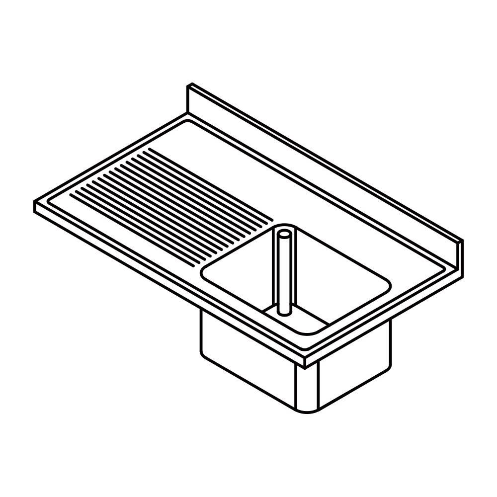 Plonge inox a batterie etagere inox pleine for Plonge inox cuisine