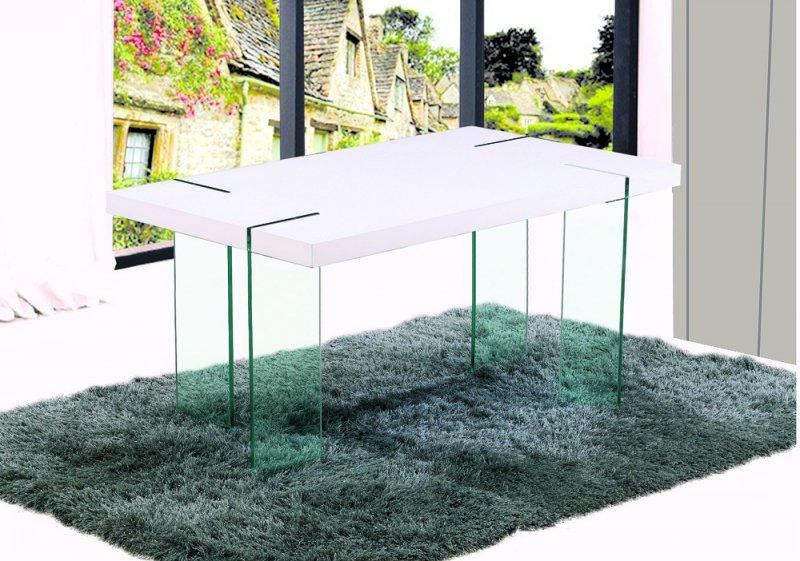 table de repas design scoop blanche pieds en verre. Black Bedroom Furniture Sets. Home Design Ideas