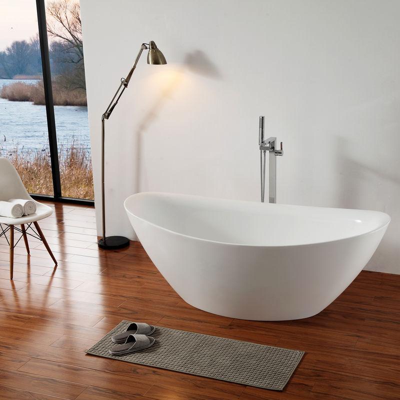 180x85cm Solid Surface Athene Blanc Mat Baignoire Ilot En Pierre Solide Bricolage Baignoires