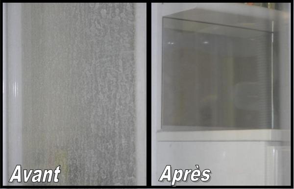 traitement du calcaire des coulures de b ton sur verre. Black Bedroom Furniture Sets. Home Design Ideas