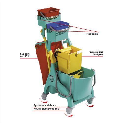 TTS CHARIOT D'ENTRETIEN COMPACT STANDARD - DIMENSIONS : L80 X H112 X P48 CM