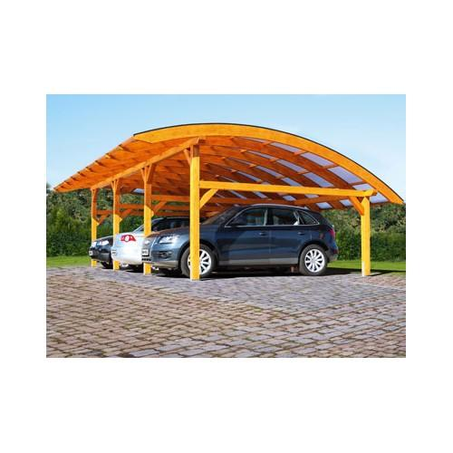 Abri voiture autoportant / structure en bois / toiture arrondie en polycarbonate alvéolaire / pour 3 voitures