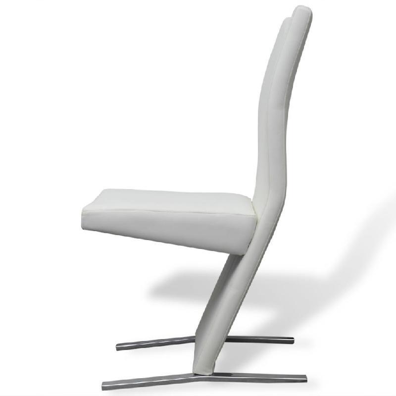 Lot de deux chaises 2 pcs en cuir artificiel blanc 1902108/2