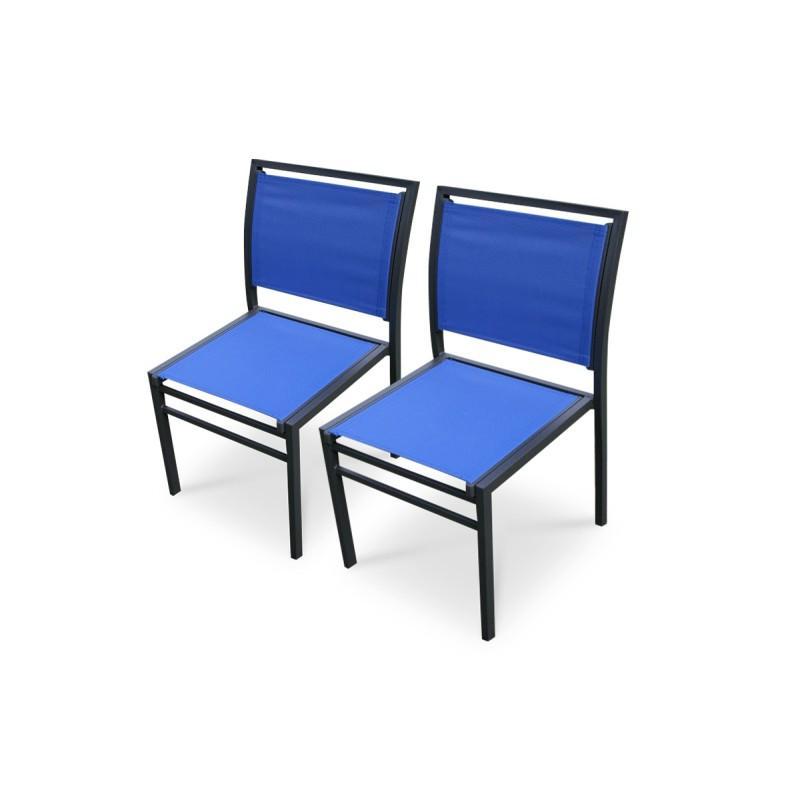 Lot de 2 chaises aluminium noir et textil ne bleu comparer for Chaise longue aluminium et textilene