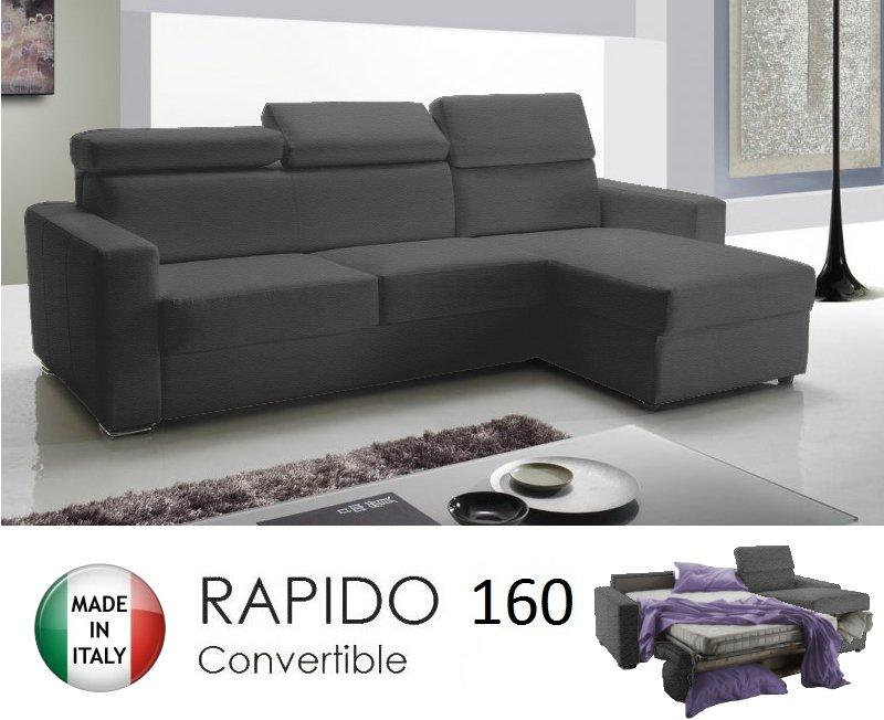 Canape d 39 angle reversible rapido sidney deluxe 160cm coffre tetieres r - Canape angle microfibre gris ...
