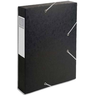 BOÎTE DE CLASSEMENT CARTOBOX - 3 RABATS ET ÉLASTIQUES - CARTE 7/10È - DOS 6 CM - NOIR