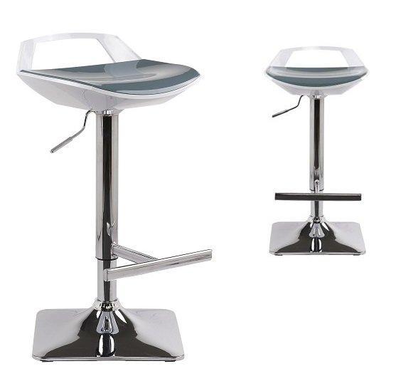 lot de 2 tabourets chaises de bar reglables ovni blanc gris. Black Bedroom Furniture Sets. Home Design Ideas