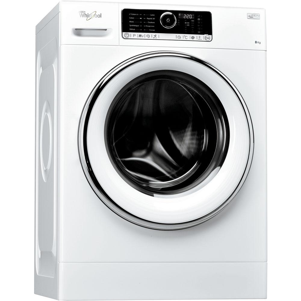 Lave-linge de maison whirlpool hublot posable : 8 kg - fscr 80421